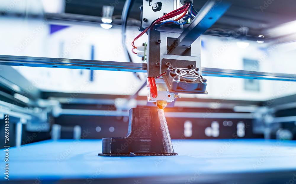 Three dimensional printing machines, FDM and SLA 3D printers.